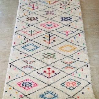Colourful Moroccan Beni Ourain Rug - Bezzaf - Full view