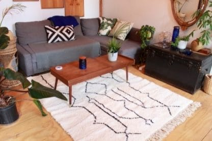 Living Room Shot of Black and White Beni Ouarain Moroccan Rug - Journey