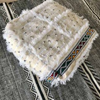 White Mushmina Handira Moroccan Pouf