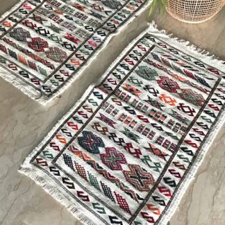 Colourful Flat weave Moroccan Rug - Double Paillassons
