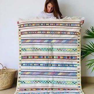 Multicoloured Moroccan Kilim Rug - Chenille Kilim - Pastel