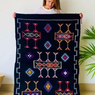Black Moroccan Rug with Colourful Berber Designs - Chenille Kilim - Noir