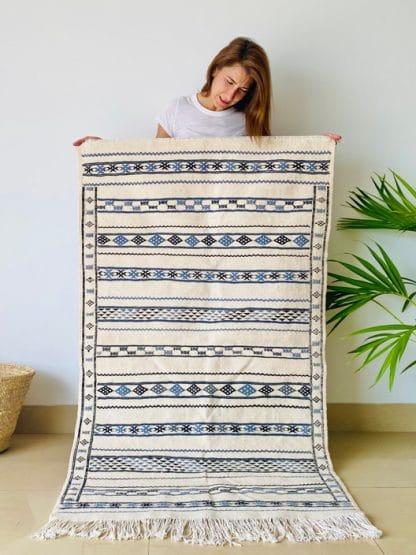 Blue Moroccan Rug - Flat weave Kilim - Bleu