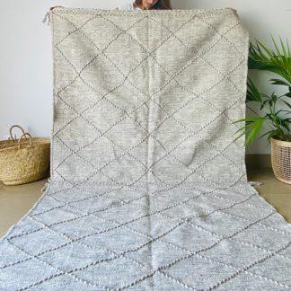 Large Light Grey Zanafi Moroccan Kilim Rug