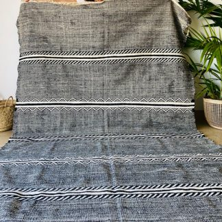 Large Black and White Moroccan Rug - Tribal Zanafi