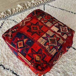 Red Vintage Moroccan Poof