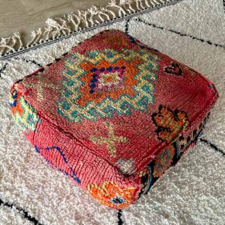 Light Red Vintage Moroccan Pouf