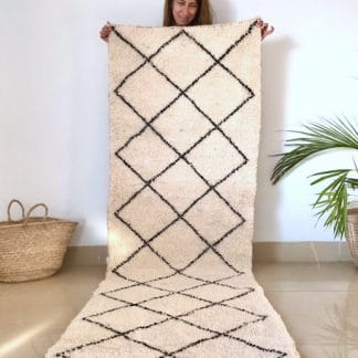 Moroccan Runner Rug with Black Diamonds on a Cream Background