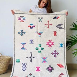 Multicoloured Berber Designs on Cream - Ostrich Moroccan Kilim Rug
